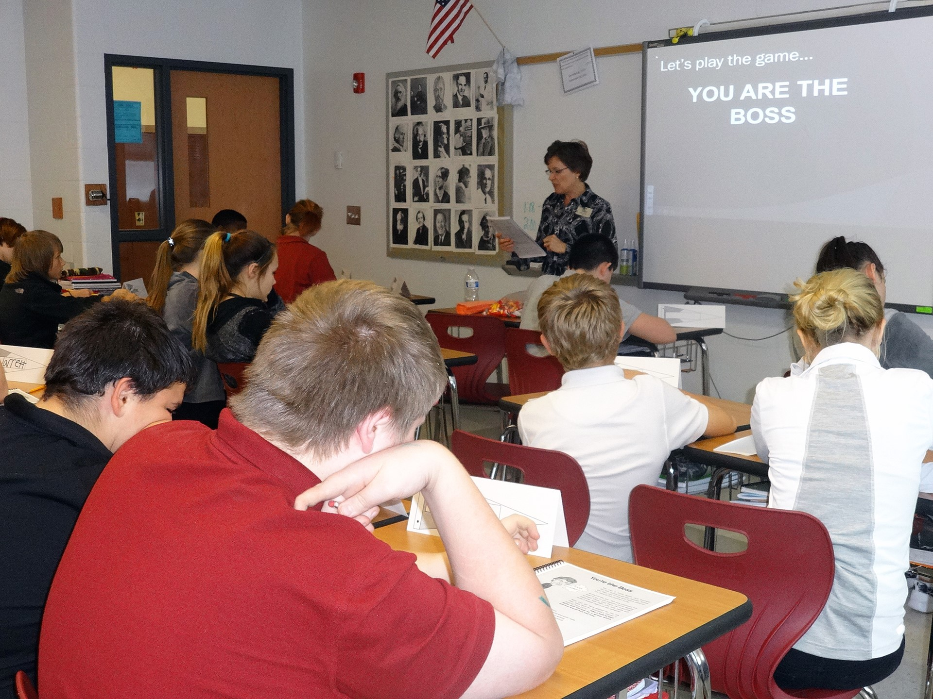 "Students then play ""You are the boss"", an exercise where they must make a hiring choice"