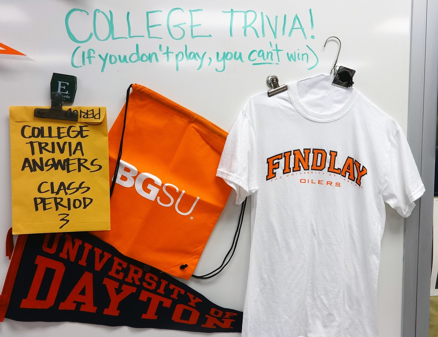 College Trivia is also a part of 3C's -- a chance to win cool donated college gear