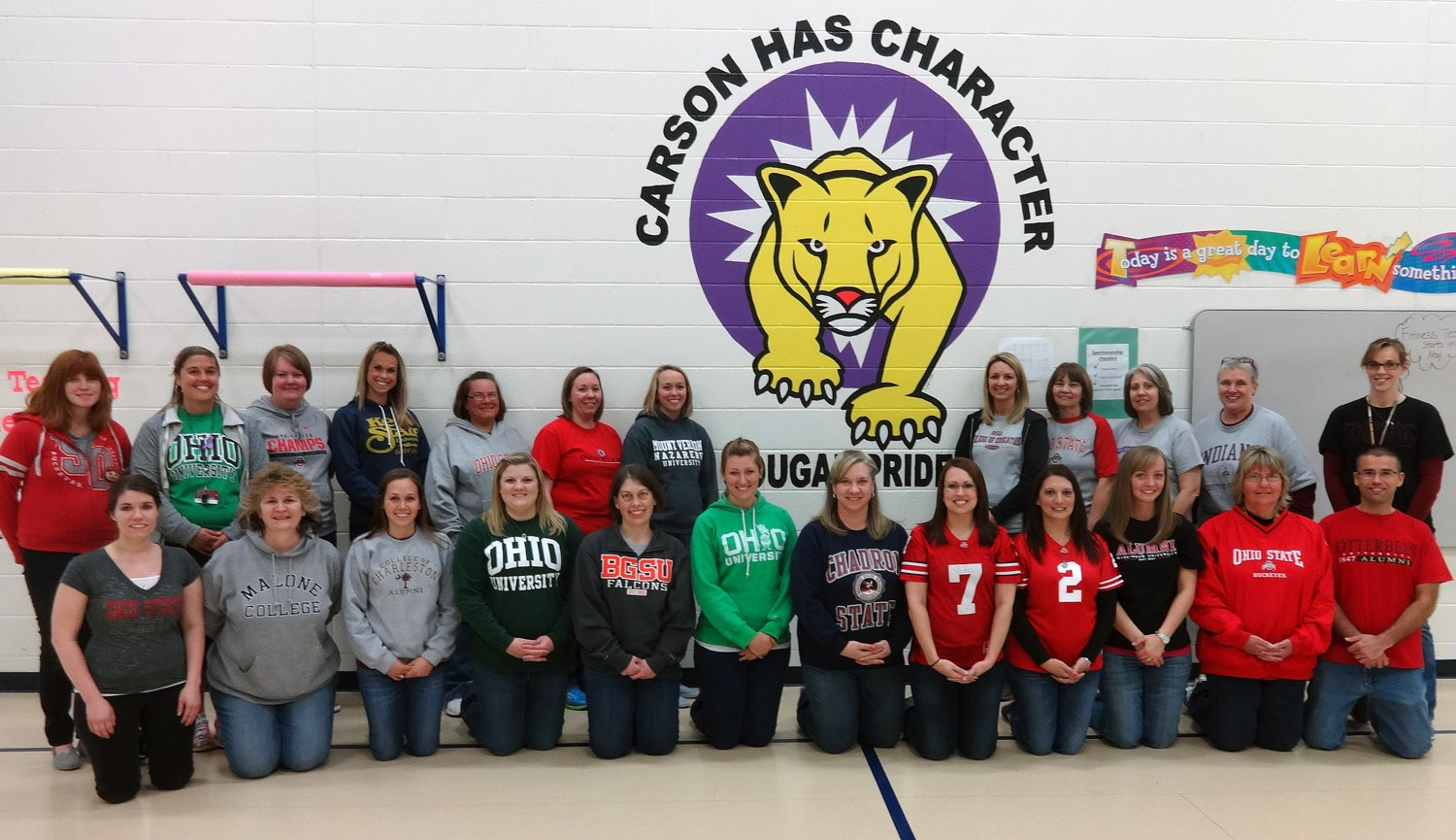 Alma Mater Day at Carson Elementary!  What a great looking staff!!