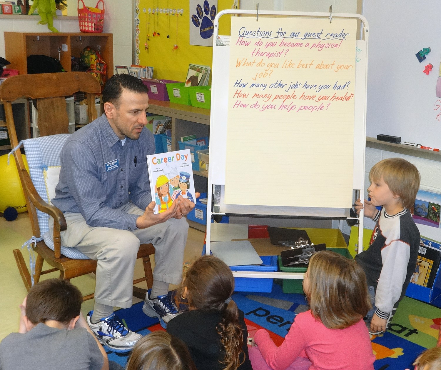 "Each volunteer did a great job reading ""Career Day"" for Story Hour"