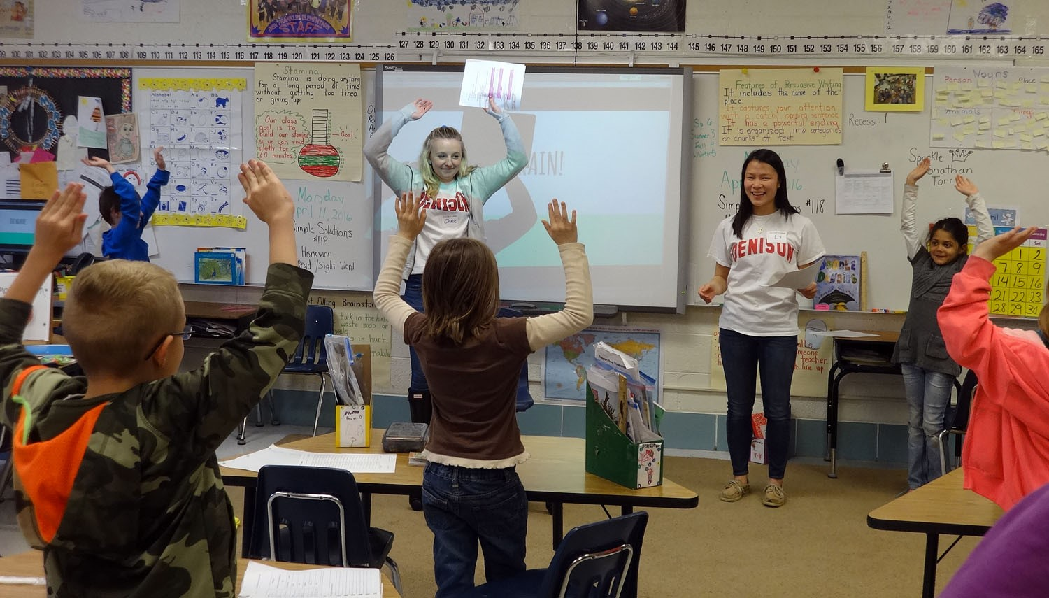April features College Comes Into the Classroom with Denison Education students